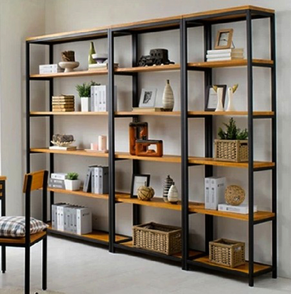 Vintage Wrought Iron separators do the old wood bookcase