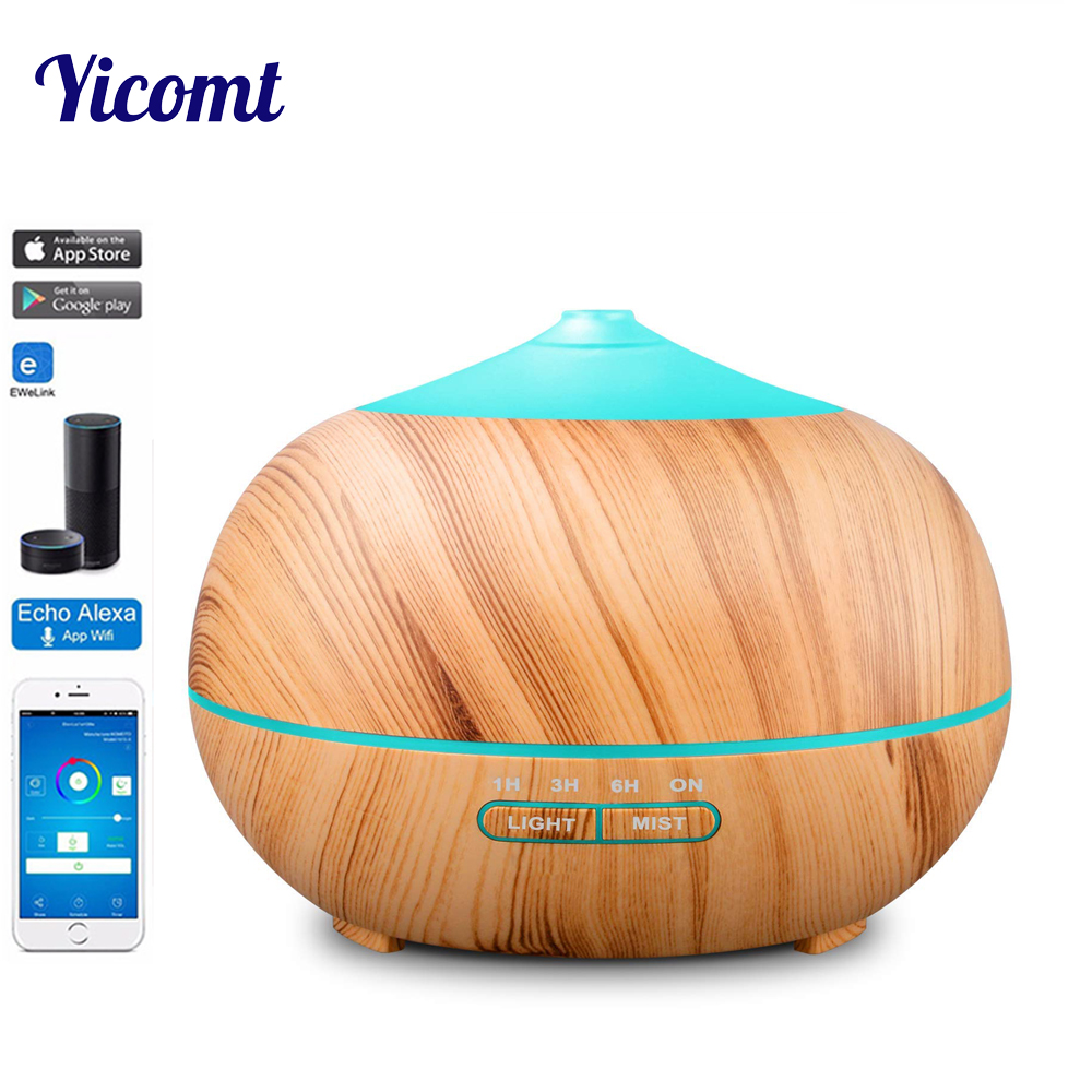 Acemax Smart Wi-Fi Essential Oil Diffuser, Works With Amazon Alexa, 400Ml Wood Grain Cool Mist Aroma Humidifier With 7 Colored
