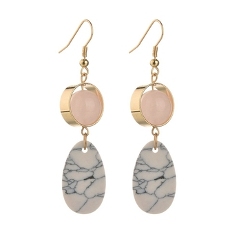 BQ-81 Gemstone Earring Jewelry Manufacturer Gem Stone Rose Quartz Earrings