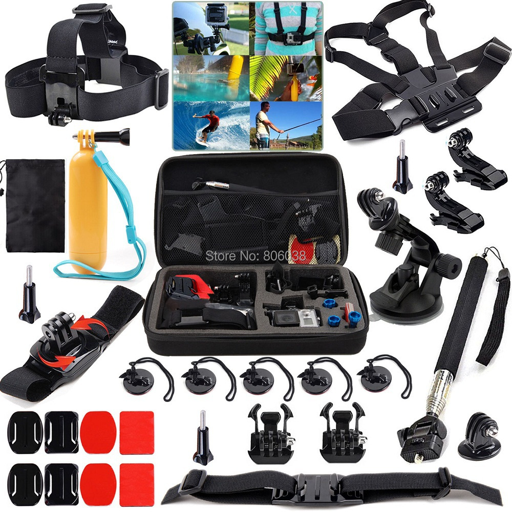 Gopro Accessories 28 In 1 Bundle Kit Carry Bag Chest Head Strap Monopod  Wrist