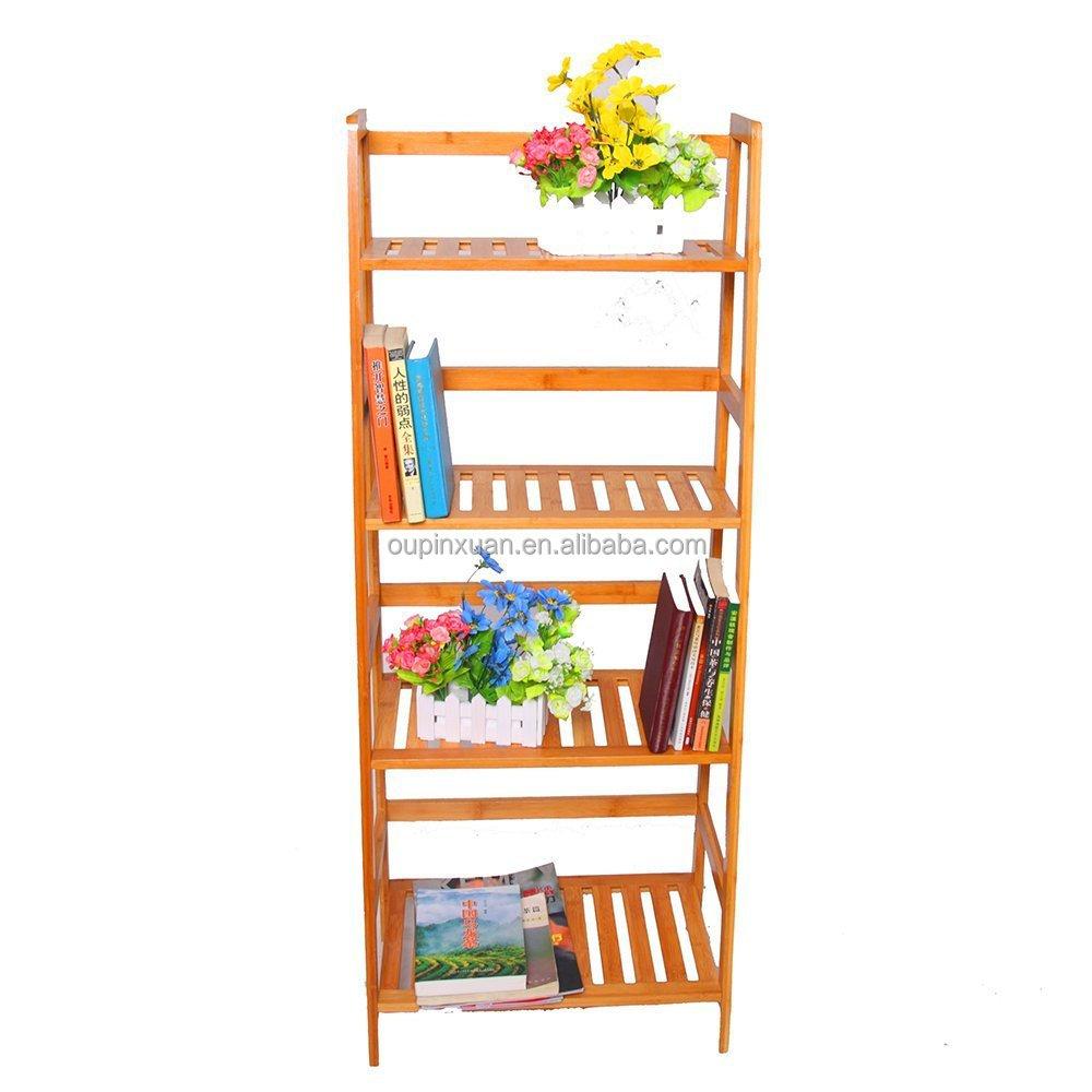 Bamboo Ladder Shelf Bookcase Bookshelf Leaning 4 Tier Storage Display Furniture Buy Bookshelf