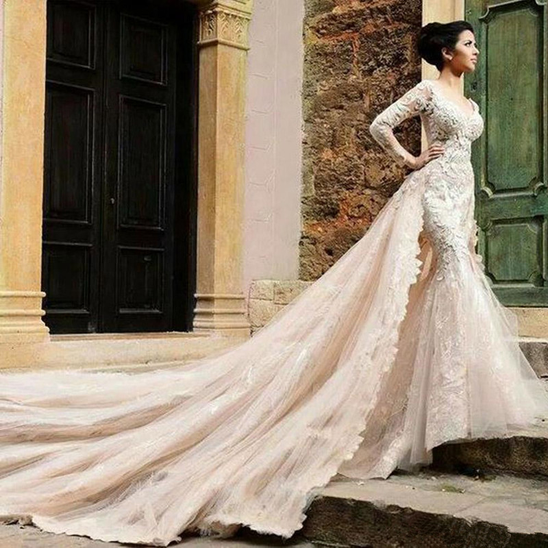Detachable Cathedral Train Wedding Gown: 2016-Mermaid-Wedding-Dresses-With-Detachable-Catherdral