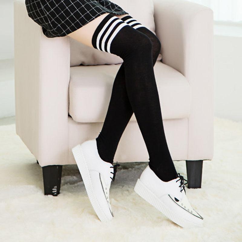 Winter Women Long Socks Over The Knee Striped Thigh High Stocking Warm Socks