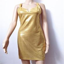Vogue женское облегающее однотонное облегающее платье Золотое без рукавов с v-образным вырезом тонкое обтягивающее Клубное пикантное платье ...(Китай)