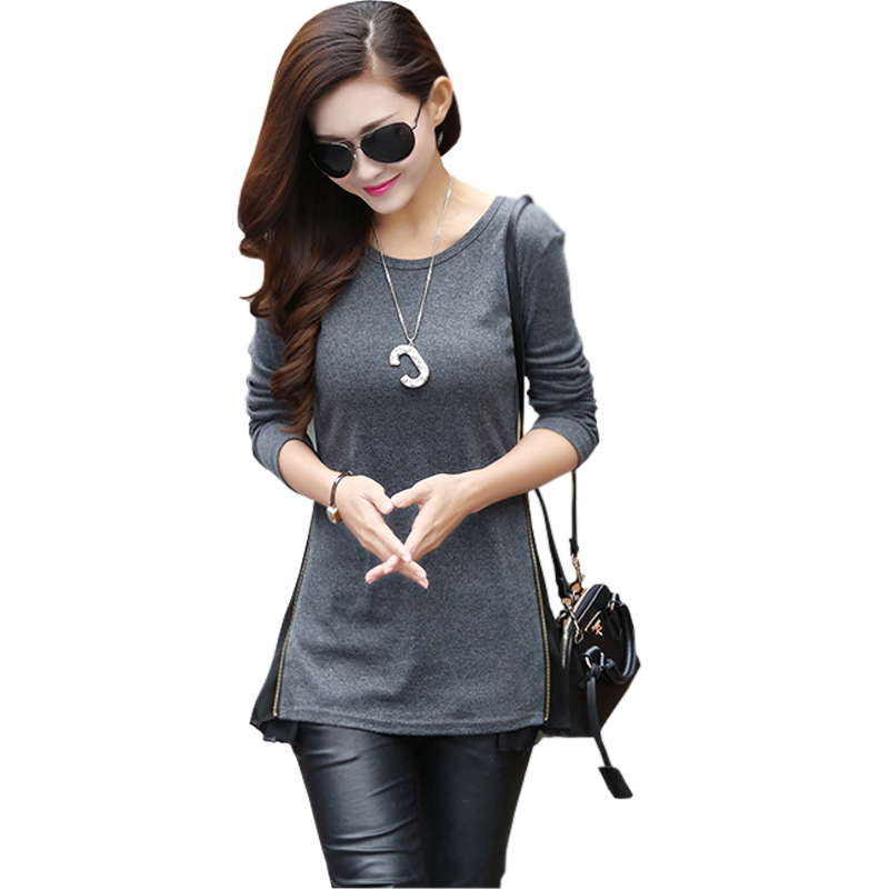 camisetas mujer brand patchwork side zip long t shirt femme 2015 tee shirts women fashion tops. Black Bedroom Furniture Sets. Home Design Ideas