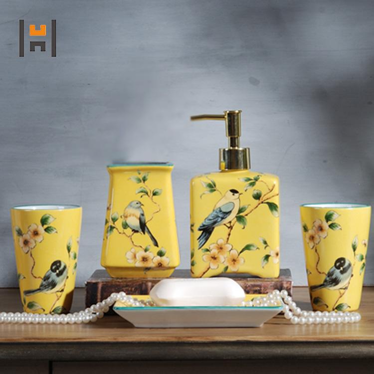 5pcs Elegant European Style Ceramic Bathroom Organizer Accessory Set Buy Yellow Bathroom Accessories Set Bird Pattern Accessories Organizer Cheap Bathroom Accessories Sets Product On Alibaba Com