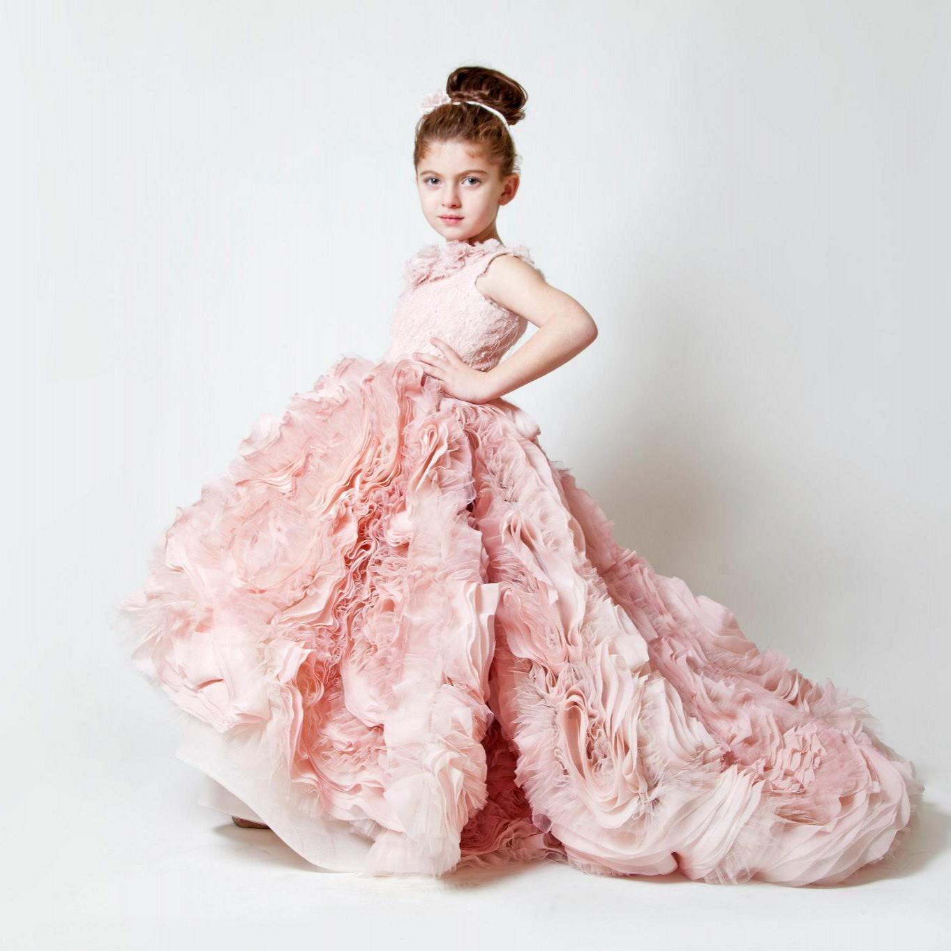 Dresses For Flower Girls For Weddings: 2016 Cute Pink Chiffon Ruffles Wedding Birthday Flower
