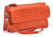 Zency 100% натуральная кожа, Женский стандартный кошелек, практичный мобильный телефон, Дамский клатч, Длинный кошелек, кредитница(Китай)
