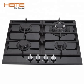 Home appliance 60cm tempered glass 4 burners built-in gas cooktop