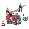 130pcs set Fire Fighting Leader Truck Model Educational Construction Bricks DIY Building Blocks Toys