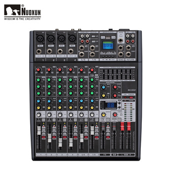 8 channel digital mixing console audio mixer with usb audio dj mixer