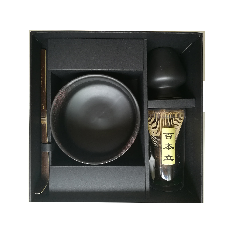 Matte Black Matcha Gift Kit Matcha Bowl Whisk Chasen Holder Scoop Japanese Ceremonial Giftset