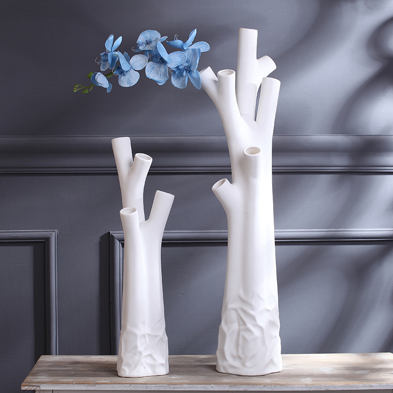 Creative dead wood shaped ceramic white big floor flower vase abstract home decorations modern minimalist furnishings ornaments