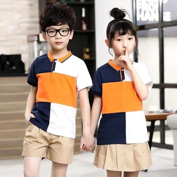 Uniform design fashion school polo and shorts/skirts for unisex