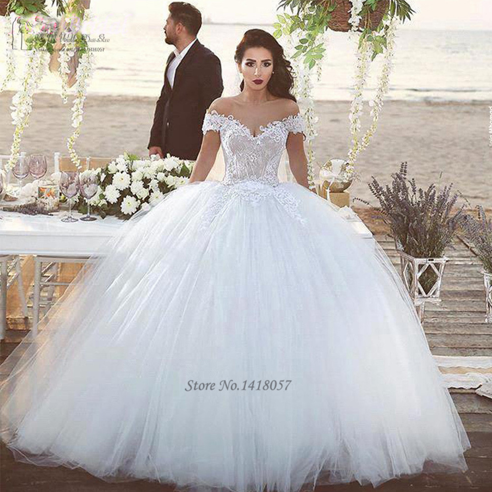 2016 Elegant White Champagne Wedding Dresses Turkey Lace