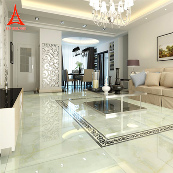 Living room morden design indoor ivory marble tiles white jade polished porcelain tile look like marble