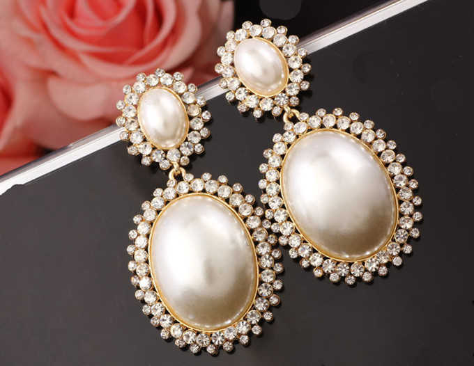 Elegant Wedding Party Earring Jewelry Gold Plated Pearl Dangle Australia Crystal Drop Earrings For Women Xll070