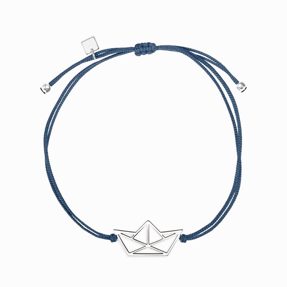 Stainless Steel Friendship Jewelry Custom Any Logo Words Symbols Meaning Lovely Origami Boat Geometric Charm Bracelet