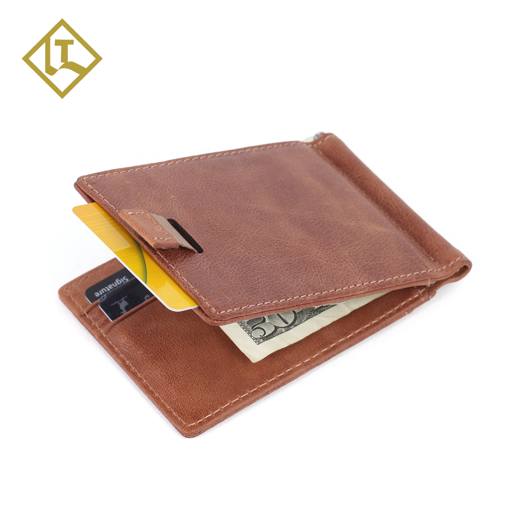 Amazon Popular RFID Blocking Slim Brown Genuine Leather Wallet Thin Front Pocket Men Money Clip Wallet