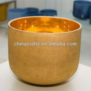 24 K Golden quartz metal singing alms bowl CSB079