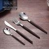 Walnut- knife, fork, spoon, dessert spoon