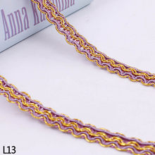 12 м 13 мм Золотая кружевная ткань для шитья кружевная лента для рукоделия свадебные аксессуары для рукоделия домашняя вышитая полиэфирная к...(Китай)