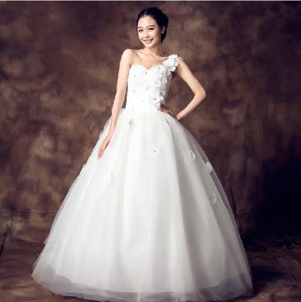 Wedding Gown Bra: 2014 New Promotion One Shoulder Sex Oblique Sweet Petals