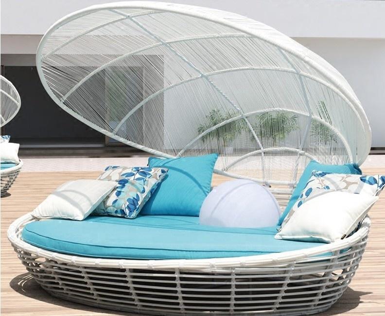 Горячая Распродажа, наружная садовая полиротанговая кровать, шезлонг, мебель