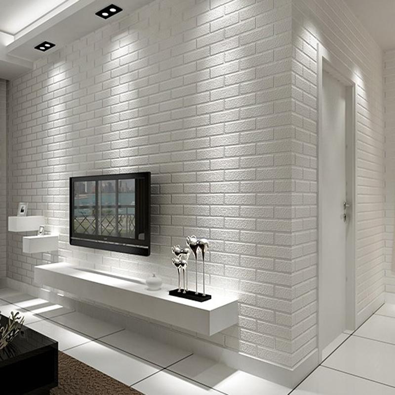 Bedroom Sets For Girls White Brick Wallpaper Bedroom Rectangular Bedroom Design Ideas Kids Bedroom Cupboard Designs: Mediterranean White Brick Pattern Nonwoven Wallpaper 3D