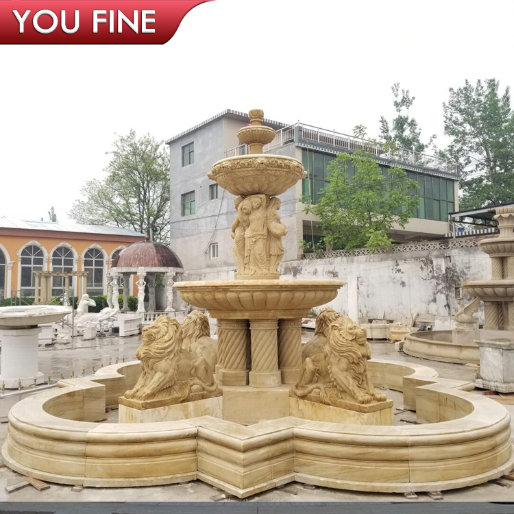 Outdoor Marble 3 Tier Garden Water Fountains with Lion Statues