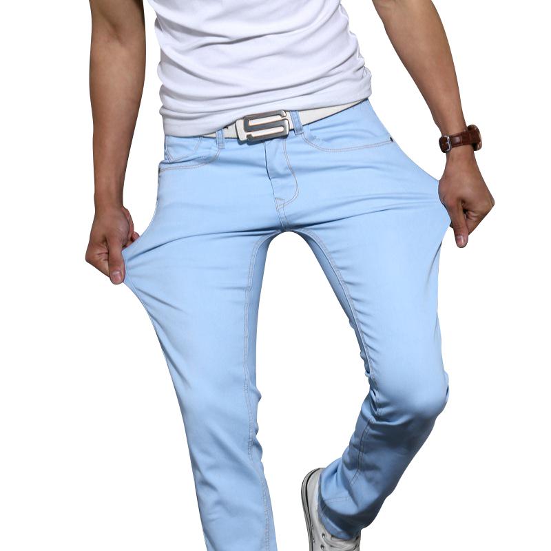 bb5713d0 € 16.35 53% de DESCUENTO Nuevos jeans para hombres de moda 2016 de color  entero, pantalones vaqueros ceñidos y elastizados, pantalones casuales ...