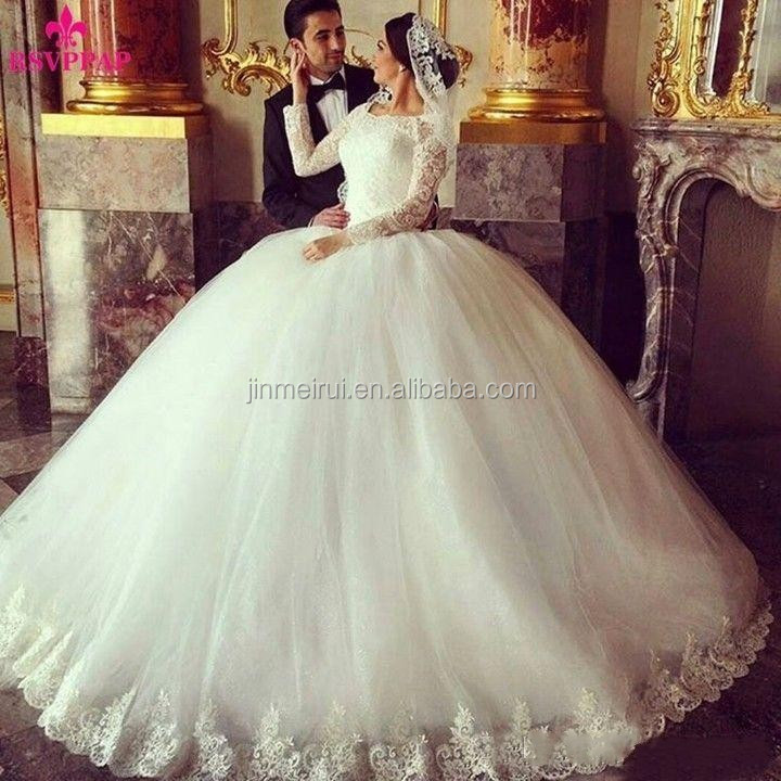 White Ivory Lace Appliques Muslim Wedding Dresses Long Sleeve Bridal Ball Gowns