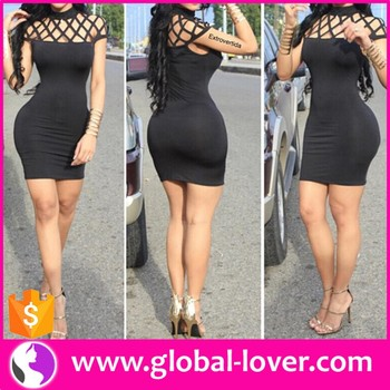 Wholesale mature party wear dress simple black cocktail dress sexy tight short mini night dress