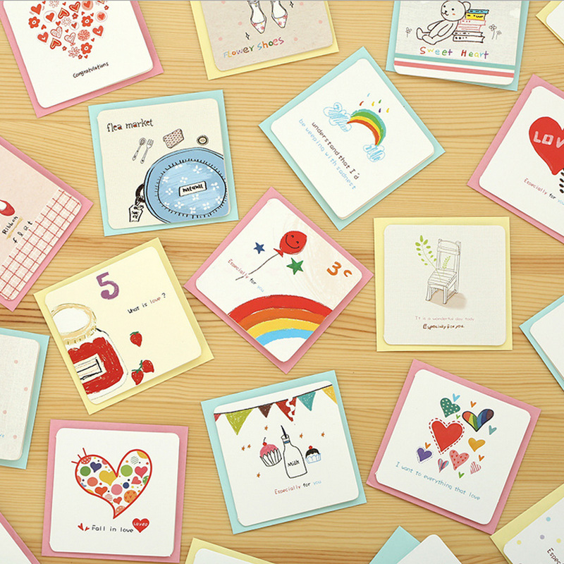 6 Card + 6 Envelope /lot Cartoon Mini Greeting Card Thank