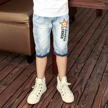 2015 hot summer design light blue star printed kids short pants boys elegant jeans denim shorts for teen children 11 years
