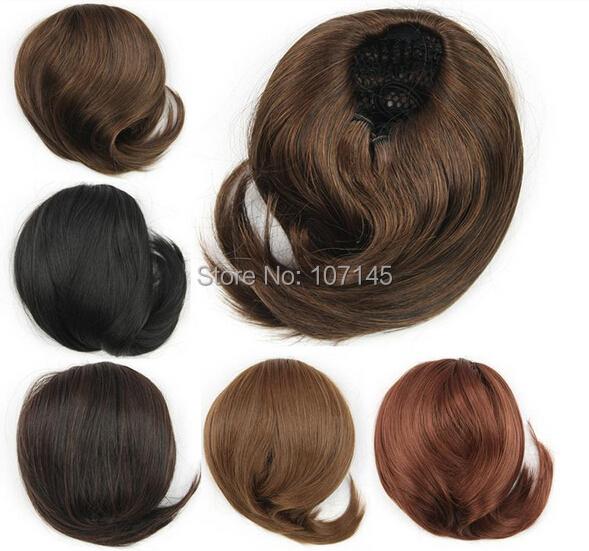 6 цвет невеста волосы булочка шиньон женщин инструменты для укладки высокое качество Bun парики девушки короткий синтетические волосы булочки хвост