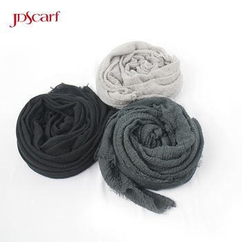 New style solid color shawl scarf muslim women scarf hijab cotton crinkle hijab