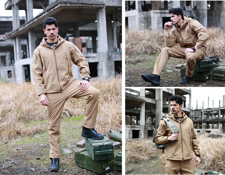 ESDY Outdoor Sports Softshell Breathable Army Coat Hoodie Waterproof Camping Hunting Military Tactical Jacket