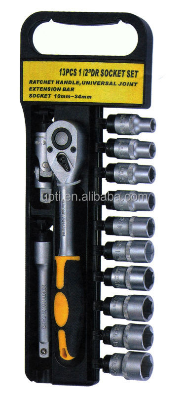13pcs 3 8 Quot Dr Socket Set Ratchet Handle W Plastic Holder