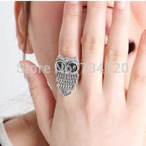 vintage Style Bronze silver plated Owl Ring jewelry wholesale finger rings for women free shipping