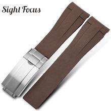 20 мм изогнутый конец резиновый ремешок для наручных часов для часов с черным водным призраком мужской браслет Relogio Masculino Montre Correa(Китай)