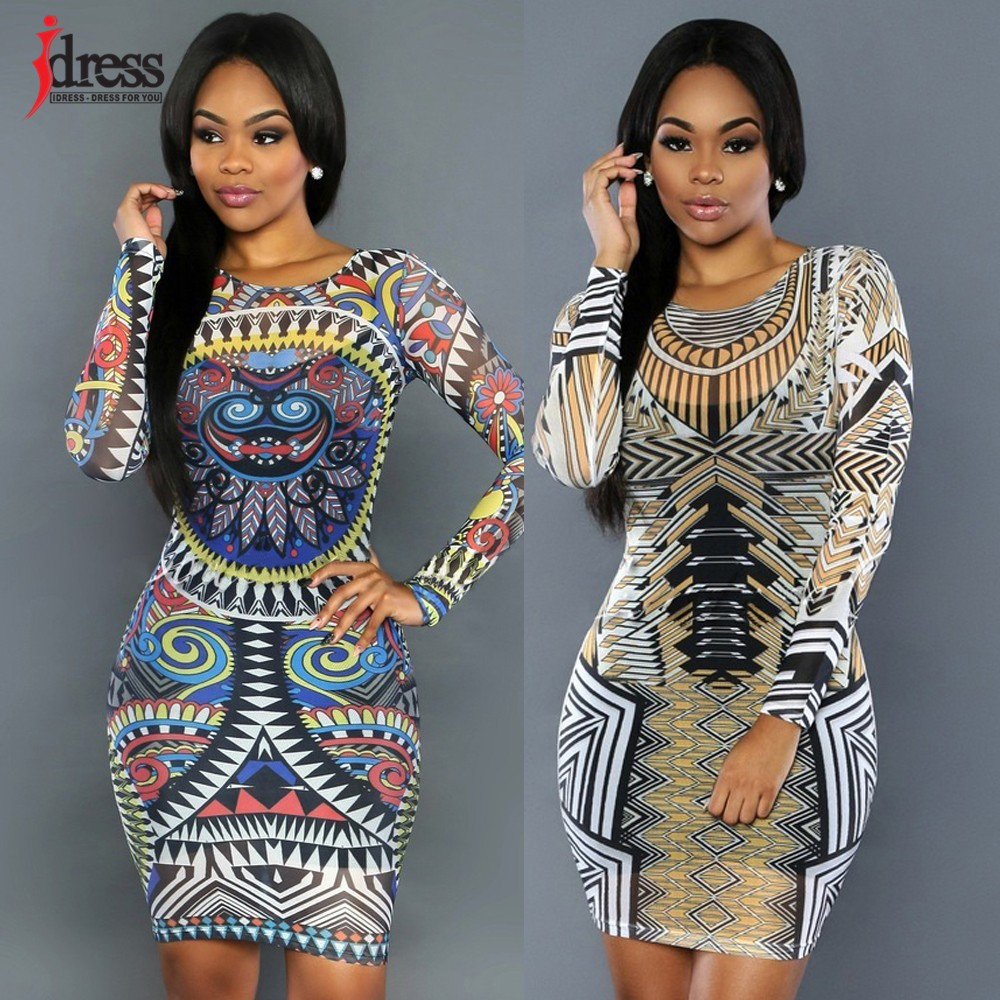 a3370aebc6 ... IDress 2016 Abstract African Print Dress Sexy Bodycon Dress Women Party  Clubwear Dress Cheap Clothes China