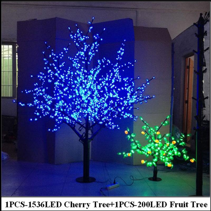 Christmas Tree Indoor Lights: 2Meter LED Cherry Tree +0.8Meter 200LEDS Fruit Tree Indoor