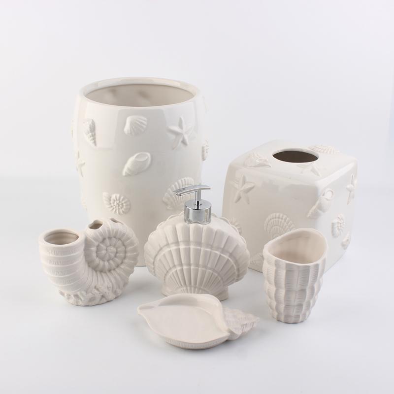 Jia Shun Hotel White Seashell Decor Ceramic Bathroom Accessories 6 Pieces Set Buy Ceramic Bathroom Accessories Seashell Bathroom Accessories White Ceramic Bathroom Accessories Product On Alibaba Com
