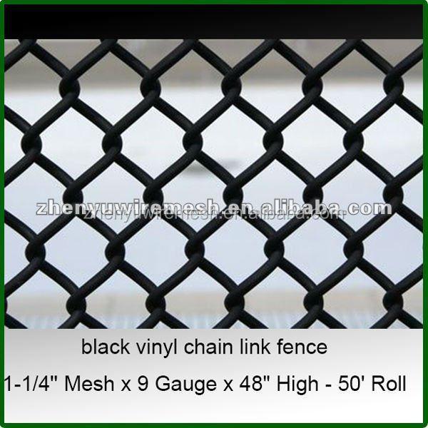 1 1 4 2 Inch 9 Gauge 6 Foot Used Black Vinyl Chain Link