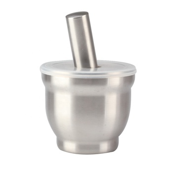 Mortar and Pestle, 18/8 Stainless Steel Spice Grinder Pill Crusher with Lid, with Anti Slip Base and Comfy Grip