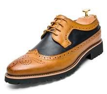 YIGER/новые мужские туфли-броги, Мужские модельные туфли из воловьей кожи, мужские свадебные туфли на шнурках, разные цвета, красный/желтый, 0077(China)
