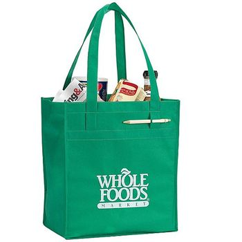 Promotional Custom Logo Printed Non Woven green Supermarket reusable grocery bags
