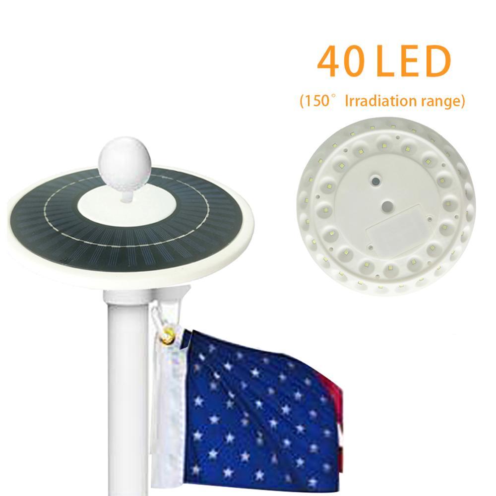 2018 Latest Model Solar Powered 40 LED Flagpole Top Hat DISC Light Solar Flagpole Light