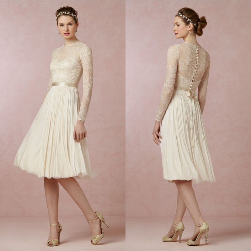 Summer Vintage Wedding Dresses: Summer Style Lace Short Wedding Dresses Long Sleeves Boat